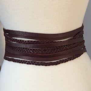 Soft plum leather braided Linea Pelle waist belt